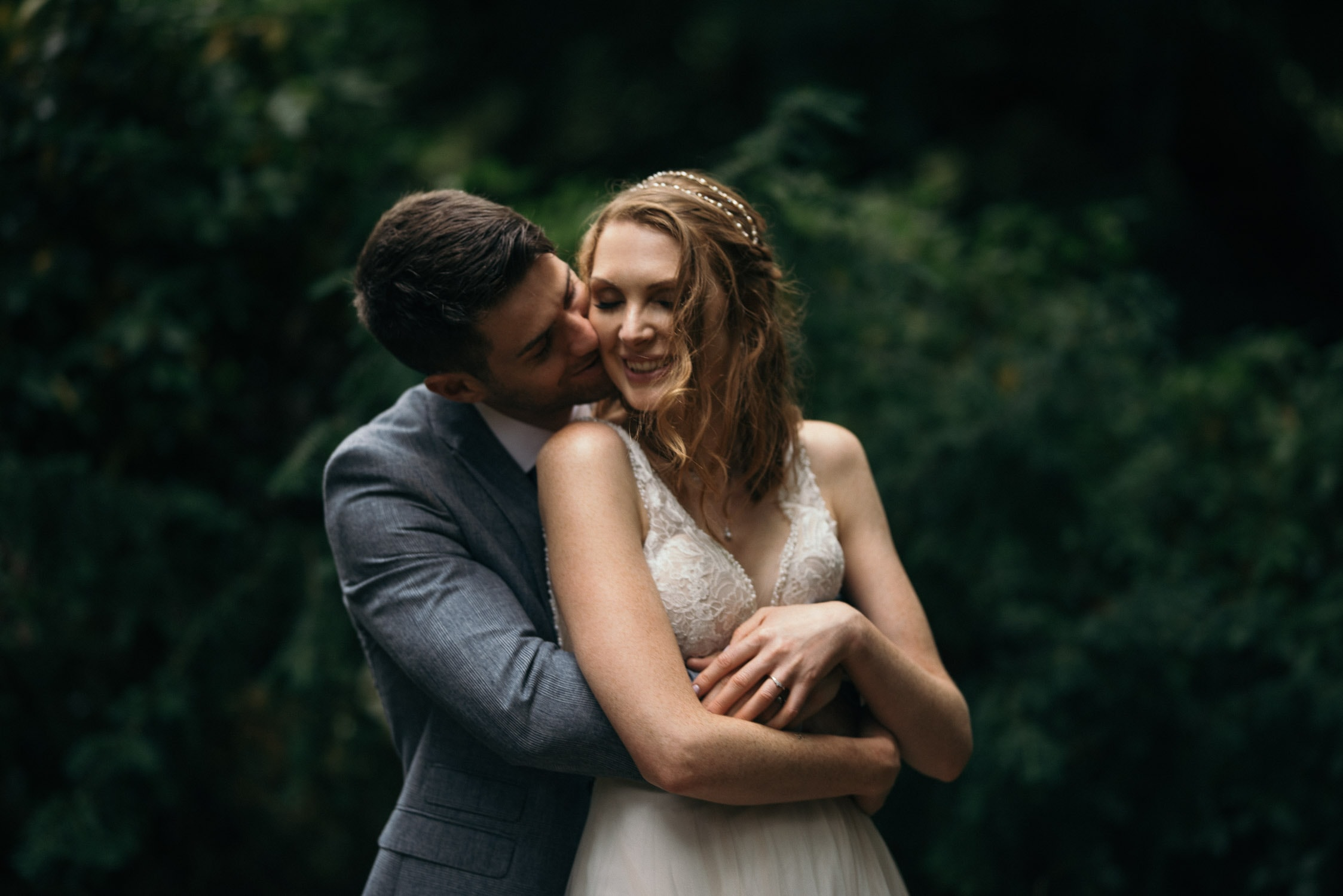 Bride and Groom embrace at Palmerstown House
